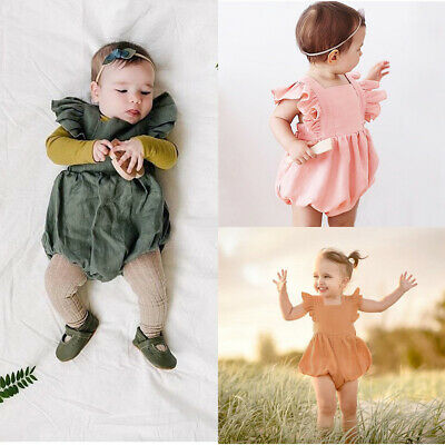 Baby Girl Summer Newborn Ruffle Dress Romper Bodysuit Jumpsuit Outfit Clothes 50