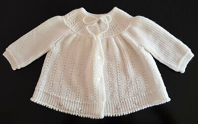 VINTAGE BABY MATINEE JACKET, MADE IN GREECE, WHITE -  BABY / REBORN DOLL, Sz 0
