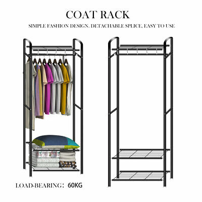 Heavy Duty Metal Clothes Storage Rack Coat Hanging Rail Shoe Stand Garment Shelf