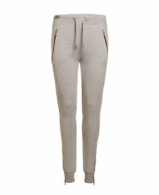 New Womens Superdry Factory Second Zip Fashion Joggers Grey Nep