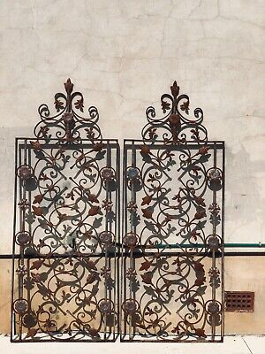 Decorative French Vintage Iron Garden Fence Gate Panel