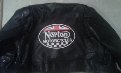 """Norton Motorcycle checkered oval back patch. 11"""" Synthetic leather. Nice New"""