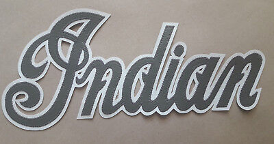 Indian motorcycle 13 inch silver/white synthetic leather back patch.A BEAUTY.NEW