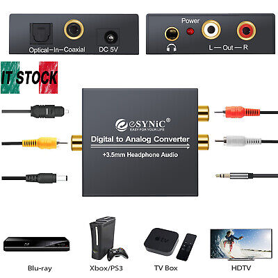 Convertitore DAC audio da digitale ad analogico RCA L/R 3,5 mm con cavo ottico
