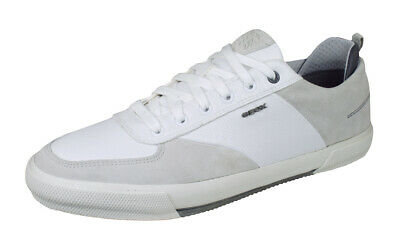 Details about Geox Warley Mens Cupsole Lace Up Leather Canvas Trainers In White Size UK 6 12