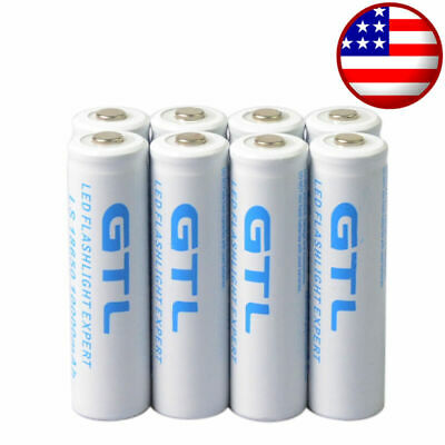 8Pcs 18650 GTL li-ion 10000mAh 3.7V Rechargeable Battery for LED Flashlight lamp