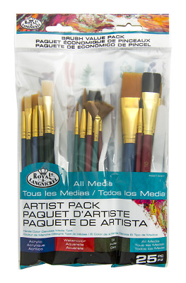 25 Pc Artist Paint Brush & Palette Knife Value Set Mixed Art Craft Brushes 9387