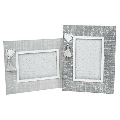 """Shabby Chic Provence Photo Frame Cool Grey Wood Frame Heart Detail 4 x 6"""""""