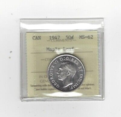 **1947 ML**, ICCS Graded Canadian Silver 50 Cent, **MS-62****