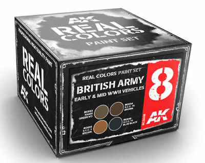 AK RCS8 Real Colors British Army Early Mid WWII Vehicle Acrylic Paint Set 4
