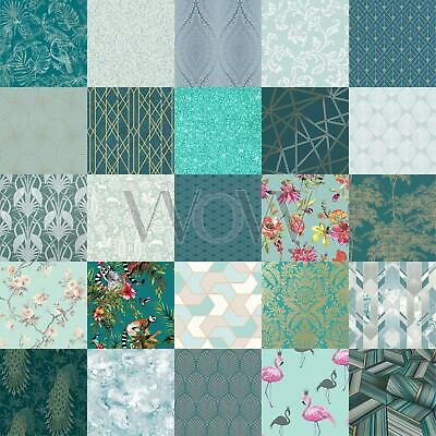 Teal Green Wallpaper - Geometric Floral Leaves Animals Metallic Glitter & More