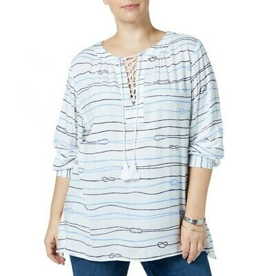TOMMY HILFIGER Women's White Plus Size Love Knot Lace-up Tunic Shirt Top 1X TEDO