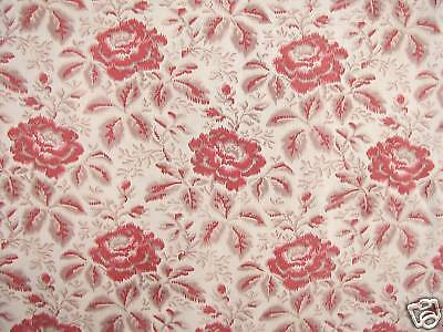 Fabric Antique French printed Simulated Warp Floral Textile c1900 1.11 yards