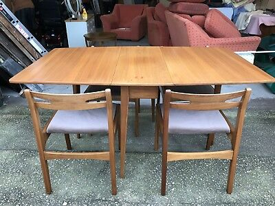 Vintage Teak Drop Leaf Dining Table And Four Chairs