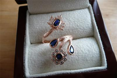 925 STERLING SILVER ROSE GOLD LAB BLUE SAPPHIRE CROSSOVER FLOWER RING Sz N US 7