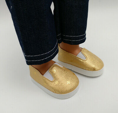 Fit For 18'' American Girl Slip-On Star Shoes PU Leather Gold Gift Doll Clothes