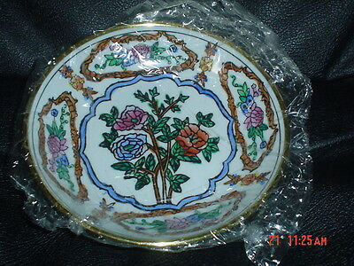 Authentic Hand Painted Chinese Decorative Wall Plate/Bowl Ceramic And Brass #5
