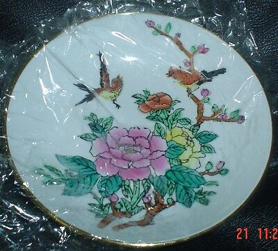 Authentic Hand Painted Chinese Decorative Wall Plate/Bowl Ceramic And Brass #3