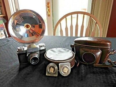c.1950 ZEISS CONTAFLEX 1 45MM 2.8 TESSAR 35mm FILM CAMERA MINT SHAPE + EXTRAS