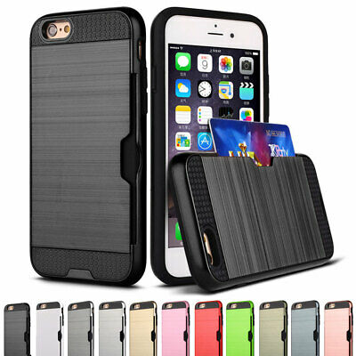 Brushed Hybrid Rubber Hard Case Card Holder Cover For iPhone 5 5s SE 6 6s Plus