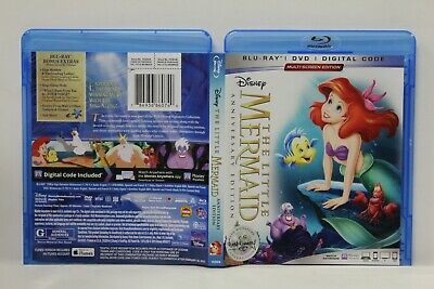 The Little Mermaid (Blu-Ray/DVD,30th Anniversary) FREE Ship Disney No Digital