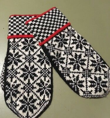 VINTAGE 60s HAND KNIT NORWEGIAN NORDIC WOMENS MITTENS GLOVES BY VIGDIS DESIGN