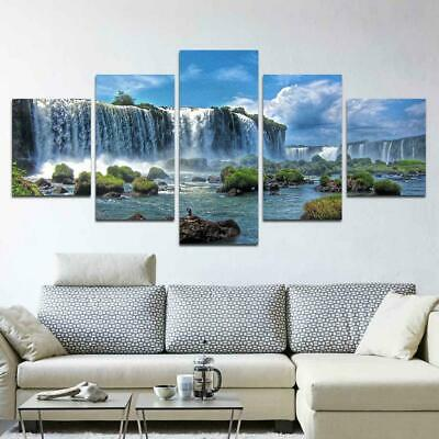 Breathtaking Waterfall Landscape 5 panel canvas Wall Art Home Decor Poster Print