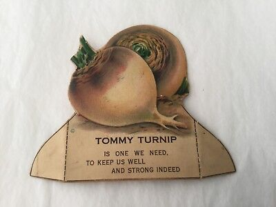 "Vintage Political campaign advertising slogan diecut card ""Tommy Turnip"""