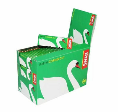 Full Box 100 Booklets of Swan Green Corner Cut Cigarette Rolling Papers