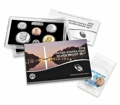 "🔥2019 U.S. Silver Proof Set w/ Reverse West Point ""W"" PF Penny"
