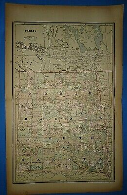 Vintage 1891 NORTH & SOUTH DAKOTA Map ~ Old Antique Original Atlas Map 40219