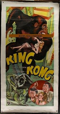 "Original Hand Painted KING KONG 3 Sheet 49"" X 94"" AWESOME RE-CREATION"