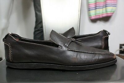 9a2427a08 Gucci leather tassle loafers 7.5 D shoes slip on brown made in Italy