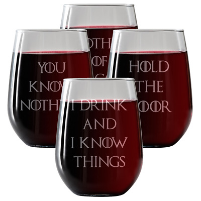 Game of Thrones Inspired |Wine Glasses 4pack Stemless Wine Glasses 17oz