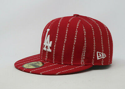 check out 7c6ef 65768 New Era 59Fifty Hat Mens MLB Los Angeles Dodgers Word Pinstripe Red Fitted  Cap