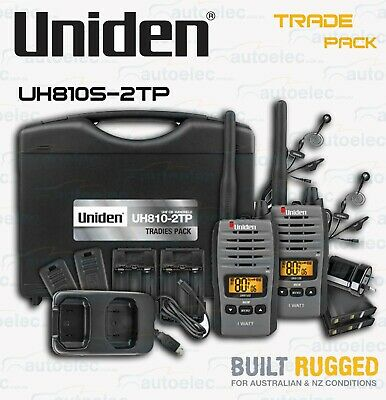 Uniden Handheld Uhf Cb Radio Twin Pack + Extras In Case Uh810S-2Tp 80 Channels
