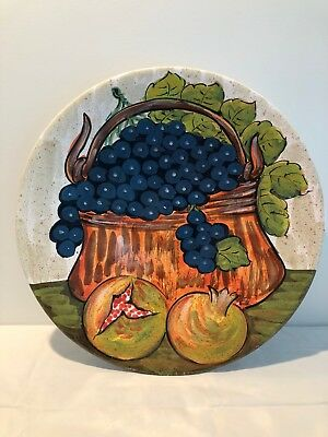"PEP BIZZARRIE Ceramic Large Hand Painted Platter Made in Chianti Italy -16""- EUC"