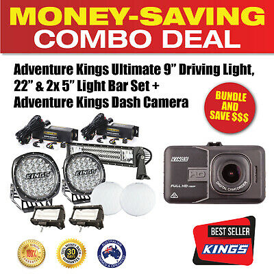 "Kings Ultimate 9"" Driving Light, 22"" & 2x 5"" Light Bar Set+ Dashcam/GPS Recorder"