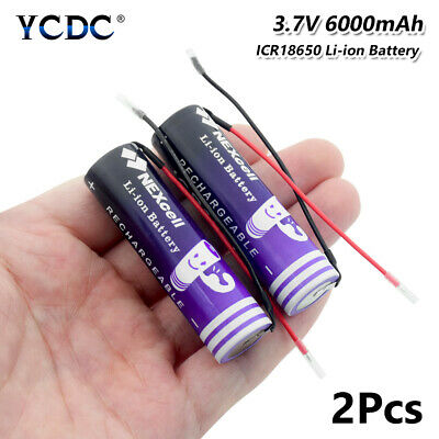 2PCS 18650 Li-ion Battery With Wires 6000mAh 3.7V Rechargeable For Flashlight