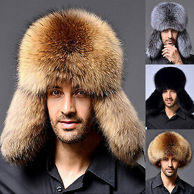 e51e051a142 Men Winter Russian Ushanka Trapper Bomber Hat Ski Cap Faux Fur Earflap Ear  Hats