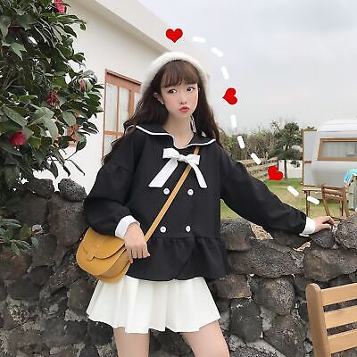 Womens Girls Japanese Lolita Sweet Double Breast Bowtie Sailor Blouse Shirt RWBN
