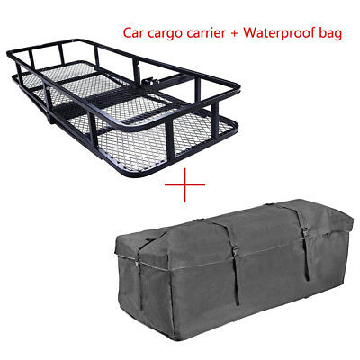 500lbs Hitch Mounted Cargo Carrier Luggage Basket with Cargo Waterproof Bag