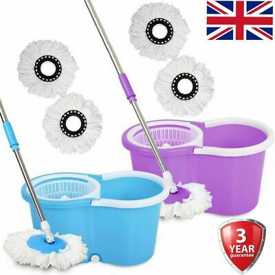 Heavy Duty Home 360° Spin Mop and Bucket Set Floor Cleaner Drainage Hole 2 Heads