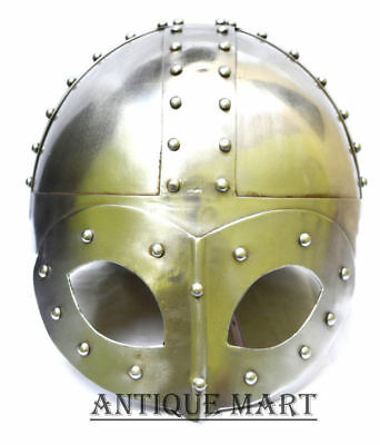 Medieval Deluxe Viking Mask Helmet with Liner & Chin Strap-HELMET FOR KNIGHT MAN