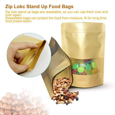 Resealable Zip Lock Kraft Paper Foil Bags Pouch Stand Up Heat Seal Food Grade