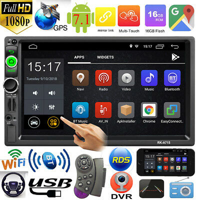 2Din 7in Quad Core Android 7.1 GPS Navi RDS WiFi Car Stereo MP5 Player FM Radio