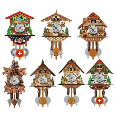 UK Vintage Wood Cuckoo Wall Clock Tree House Bell Swing Art Home Decor Xmas Gift