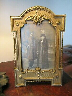 Pretty Antique French Gilt Metal Picture Photo Frame With Original Photo