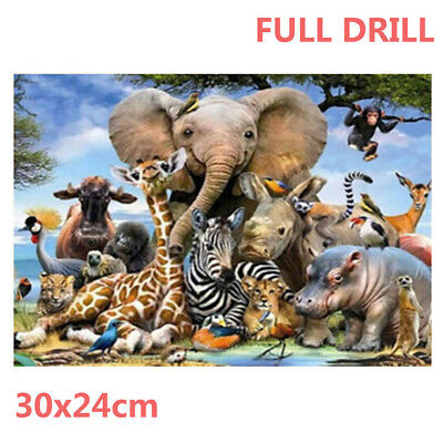 Full Drill Animals 5D Diamond Embroidery Painting Animal World DIY Kit Deco ACVT