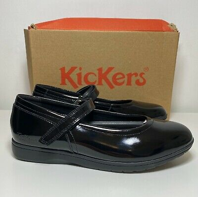 Kids Girls Kickers Perobelle Mary Jane Black Patent Shoes Size 39